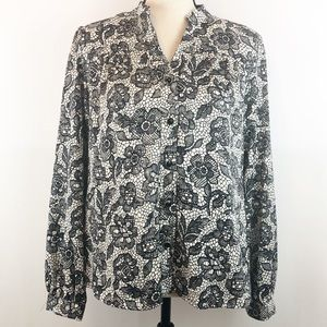 Charter Club Black & White Floral Button Down Top